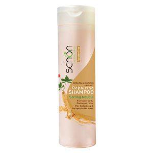 شامپو ترمیم کننده جینسینگ و کراتین مو شون مناسب برای موهای رنگ شده و آسیب دیده 400 میل