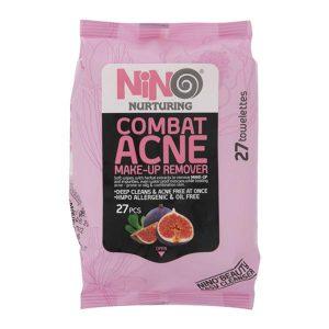 دستمال مرطوب پاک کننده آرایش نینو مناسب پوست های چرب و آکنه دار مدل Combat Acne بسته 27 عددی