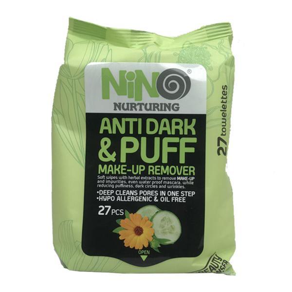 دستمال مرطوب پاک کننده آرایش نینو مناسب پف و تیرگی دور چشم مدل Anti Dark & Puff بسته 27 عددی
