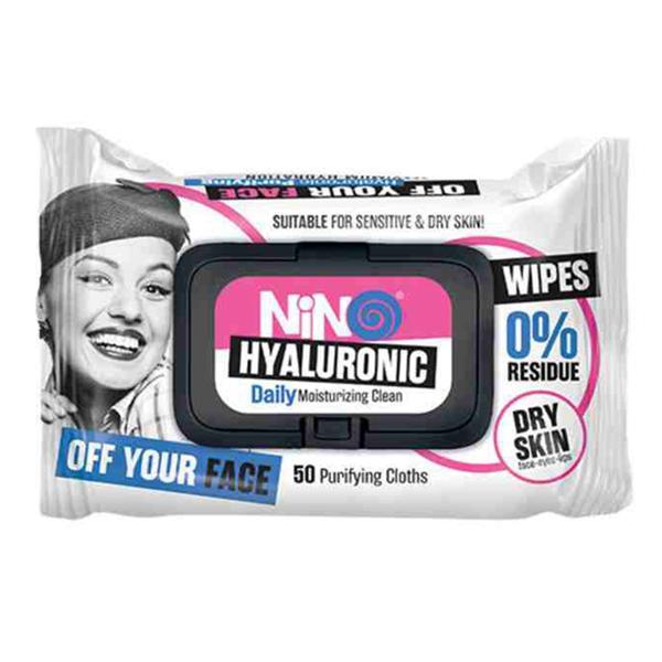 دستمال مرطوب پاک کننده آرایش نینو مناسب پوست های خشک و حساس مدل Hyaluronic بسته 50 عددی