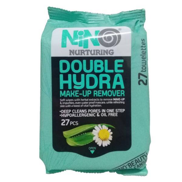 دستمال مرطوب پاک کننده آرایش نینو مدل آبرسان بسیار قوی (Double Hydra) بسته 27 عددی