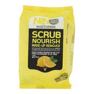 دستمال مرطوب پاک کننده آرایش نینو مدل لایه بردار عمیق پوست (Scrub Nourish) بسته 27 عددی