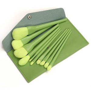 ست براش آرایشی کیفی 10 عددی رنگ سبز